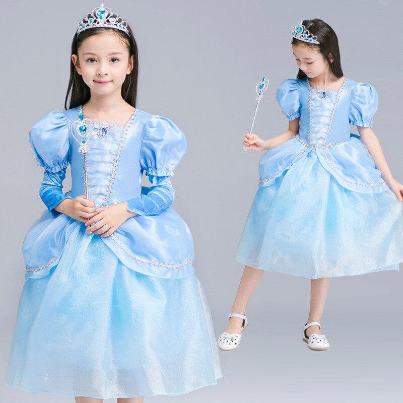 New Cinderella Princess Cross Dress Christmas Party Performance Girl Dress Knee Length Blue Kids Birthday Dress Clothes 4T