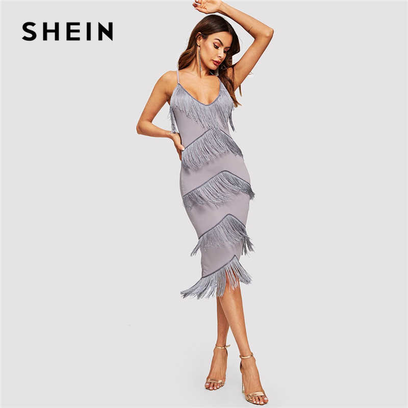 37d9ba7c7d34c SHEIN Purple Elegant Layered Fringe Patched Fitted Cami Party Dress ...