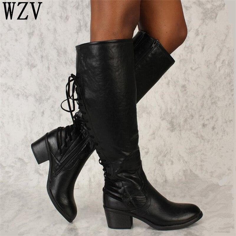 Bajo Mujer marrón Zapatos Encaje Mujeres Altas De W561 Botas Tacón largo  Estilo Las Rodilla Negro Detrás Cuero 2018 Romano 6vZqZU 2a7e305b58b8