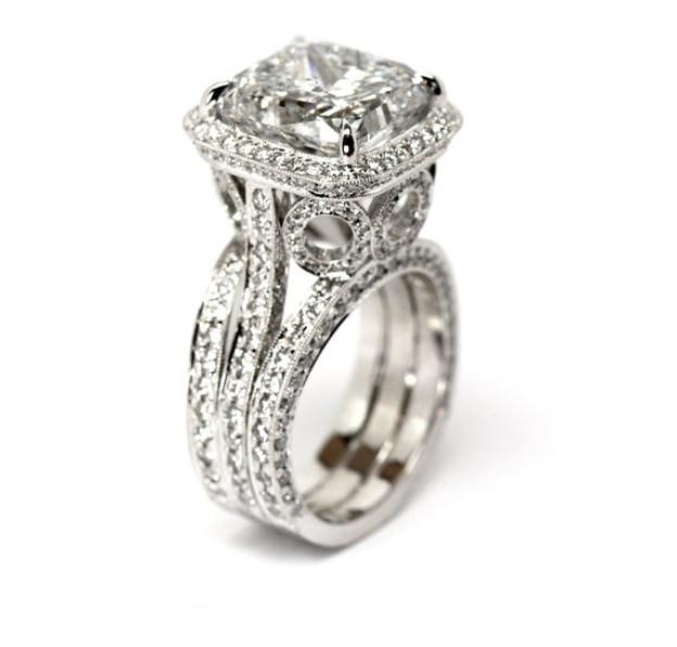 Livraison directe tout nouveau bijoux de luxe promesse anneau 925 en argent Sterling coussin forme AAA CZ chanceux mariage femme bague - 2