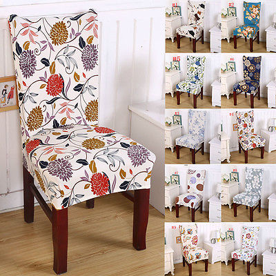 Short Dining Room Floral Chair Seat Removable Elastic Stretch