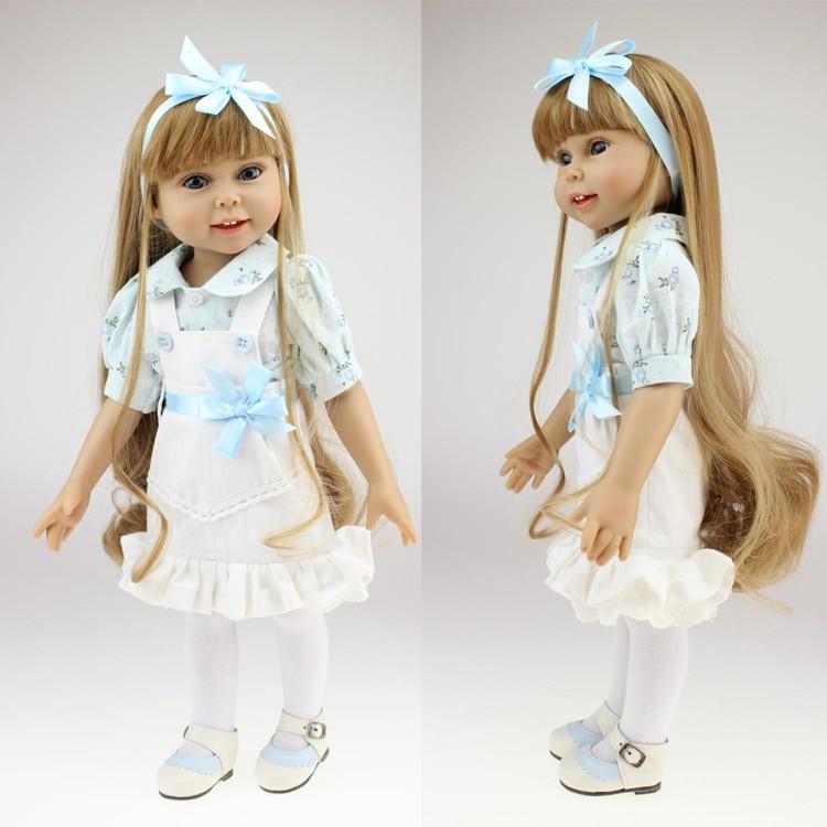 "Фотография 18"" 45cm American Girl doll with Khaki flaxen long hair silicone lifelike baby doll baby toys girl New year gift"