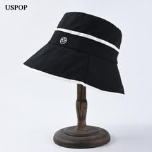USPOP 2019 Women bucket hats simple letter M  hat summer casual patchwork wide brim flat top sun