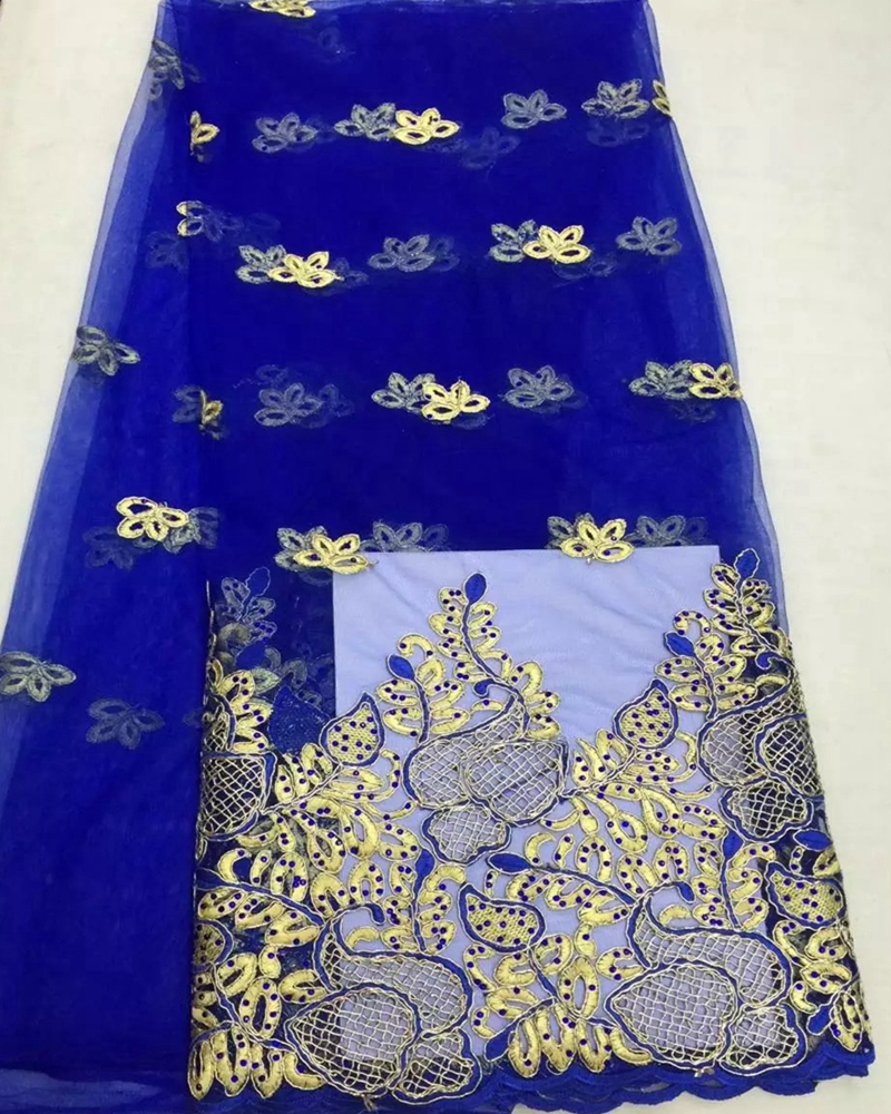 New African net lace fabric material embroider high quality so soft light royal blue color french lace for wedding dress