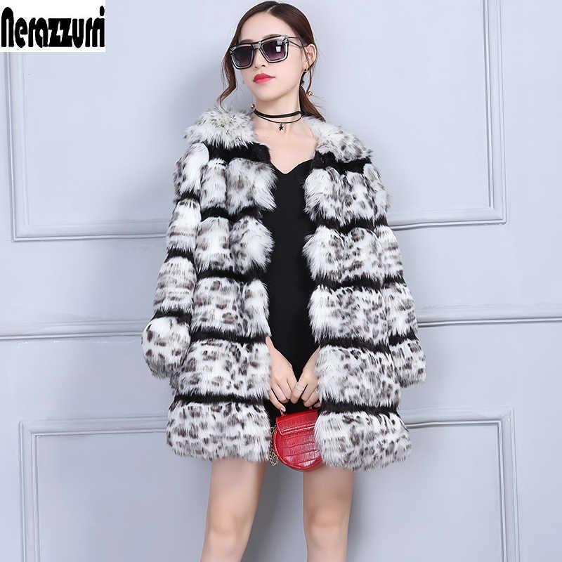 Nerazzurri เสือดาวผู้หญิง Furry Fluffy ฤดูหนาว Faux Fur Jacket Luxury Warm หญิง Plus ขนาดปลอม fox ขนสัตว์ 5XL 6XL 7XL