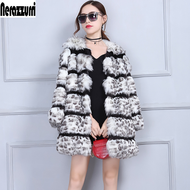 02b769d8ea Nerazzurri Leopard Coat Women Furry Fluffy Winter Faux Fur Jacket Luxury  Warm Female Fake Fur Coats Plus Size 4XL 5XL 6XL 7XL