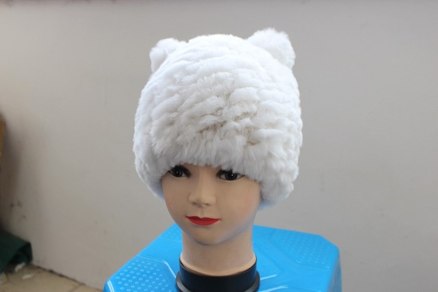 Rabbit fur cap Natural fur free shipping warm in winter fashion hat  women hat with ear