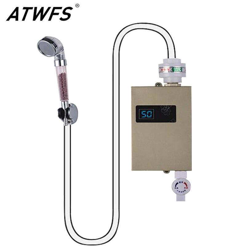 Atwfs душ проточный водонагреватель мгновенными горячей воды Tankless Электрический Кухня водонагреватель 220 В обогреватели