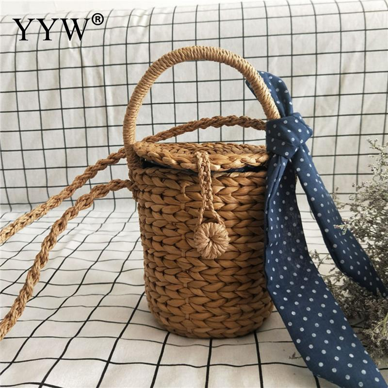 Bucket Straw Bags Chain Woven Women Crossbody Bags Shoulder Tote Bag Summer Beach Handbags Fashion Bow Beach Straw Handbags fabric bags shoulder straw summer of women fabric crossbody bags canvas jute beach travel bag