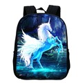 Special Offer Hot Oxford 12-Inch Printing Mythical Animals Horse Babys School Bags Black Children Small Backpacks for Kids Gifts