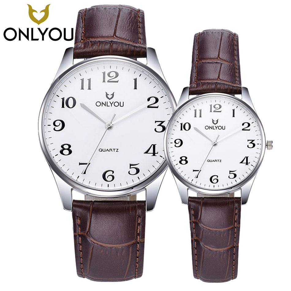 ONLYOU Top Brand Design Retro Style Mens Quartz Watch Men Leather Band Clock Lovers Sports Waterproof Watches Couple Gift+Box sunward relogio masculino saat clock women men retro design leather band analog alloy quartz wrist watches horloge2017