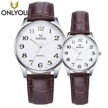 Onlyou Лидирующий бренд Дизайн Ретро Стиль Для мужчин S кварцевые часы Для мужчин кожаный ремешок часы Любители спорта Водонепроницаемый Часы пара подарок + коробка