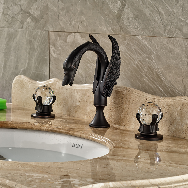 Luxury Two Cristal Handles Bathroom Faucet Tap Swan Shape Widespread Deck Mounted Basin Mixer Taps