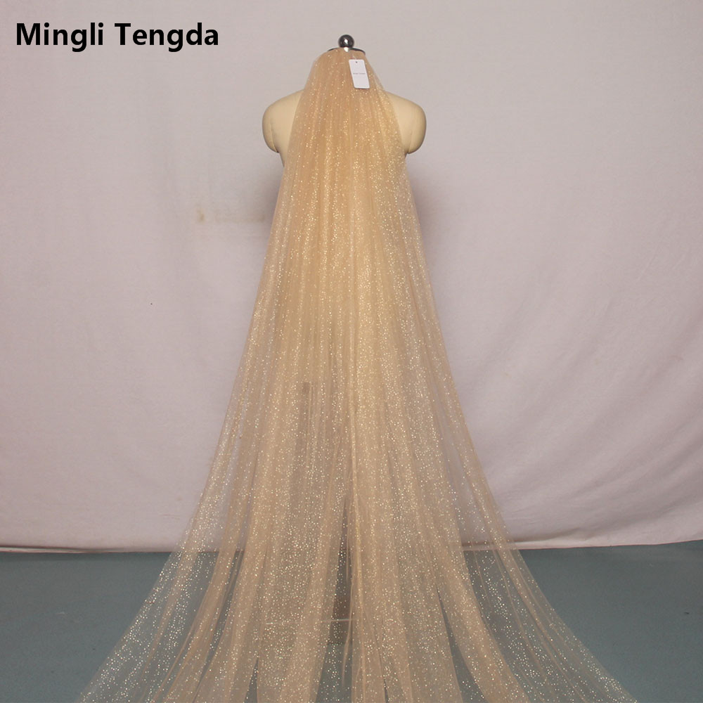 Bling Bling 1T champagne 3M Cathedral Bridal Wedding Veil Crystals With Comb