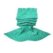 CAMMITEVER Green Mermaid Tail Deken Comfortabele Handgemaakte Haak Mermaid Deken Kids Adult Throw Bed Wrap Soft Slapen