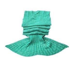 Image 1 - CAMMITEVER Manta de cola de sirena verde, manta de sirena de ganchillo hecha a mano, cómoda, para niños y adultos, envoltura de cama, sueño reparador