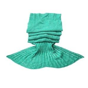 Image 1 - CAMMITEVER الأخضر حورية البحر الذيل بطانية مريحة اليدوية الكروشيه حورية البحر بطانية الاطفال الكبار رمي السرير التفاف لينة النوم