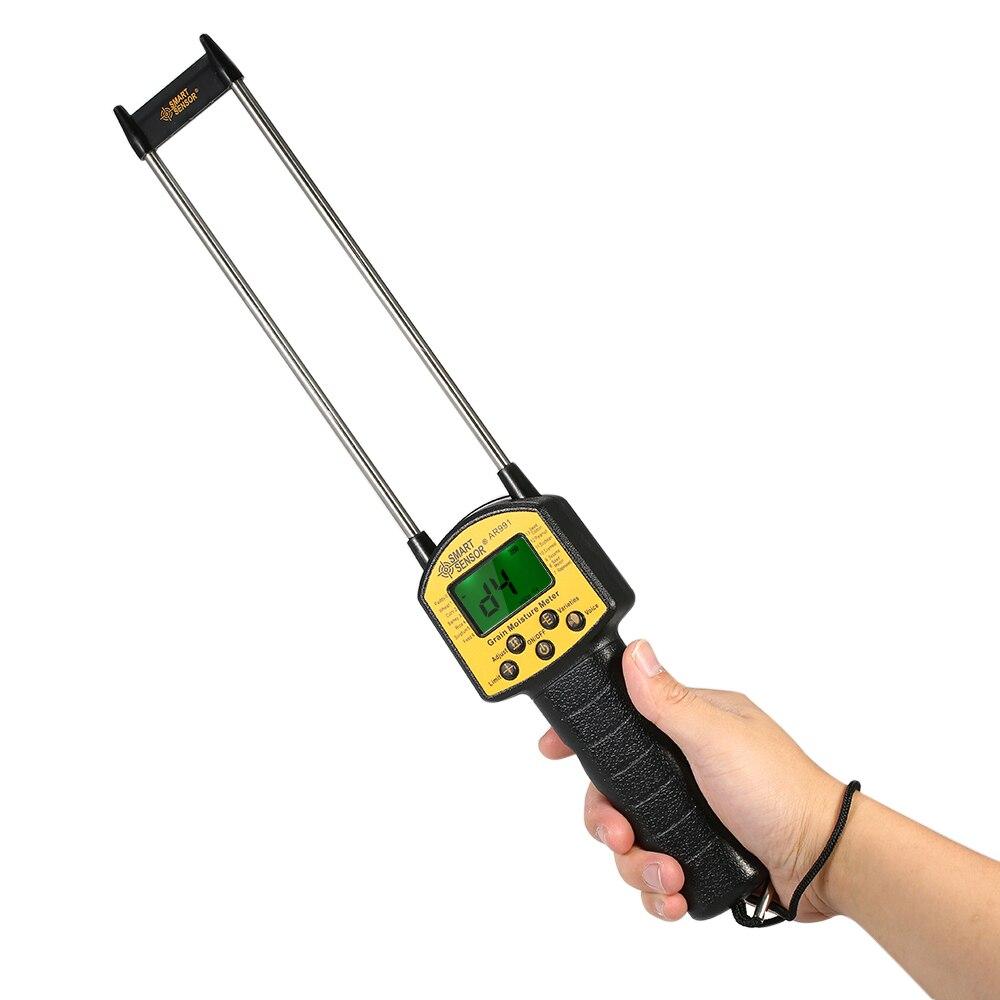 SMART SENSOR Handheld Feuchtigkeit Meter Digital higrómetro Hygrometer Hydrometer + Mess Sonde für Mais Weizen Reis Bean