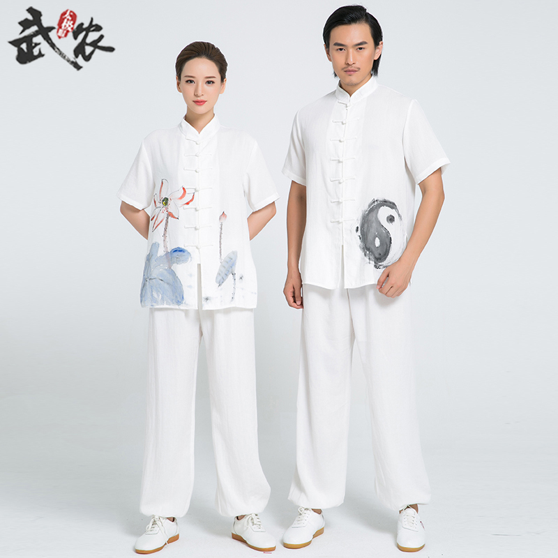 2018 New Product Tai Chi Clothing Uniform Hand Painted Tai Chi Clothing Kung Fu Clothes White Woman And Men