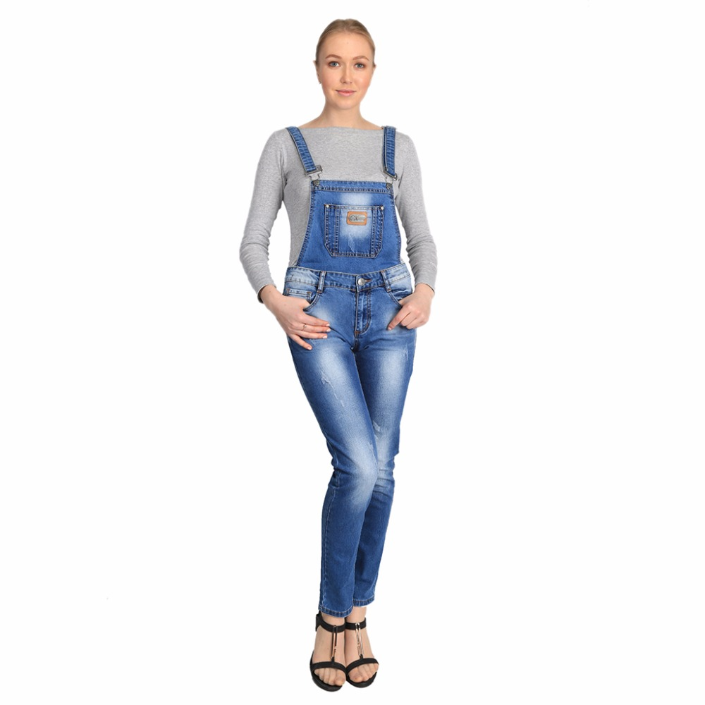 Jumpsuits Rompers Women Overalls With Pockets Skinny Light Wash