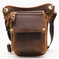 Vintage Genuine Cow Leather Belt Bag Men's Waist Bag Leg Fanny Pack Shoulder BagMobile Phone Camera Tool Kits Organize Bags