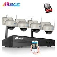 ARSECUT 4CH CCTV System Wireless 960P NVR 4PCS 1 3MP IR Outdoor IP Security Camera Home