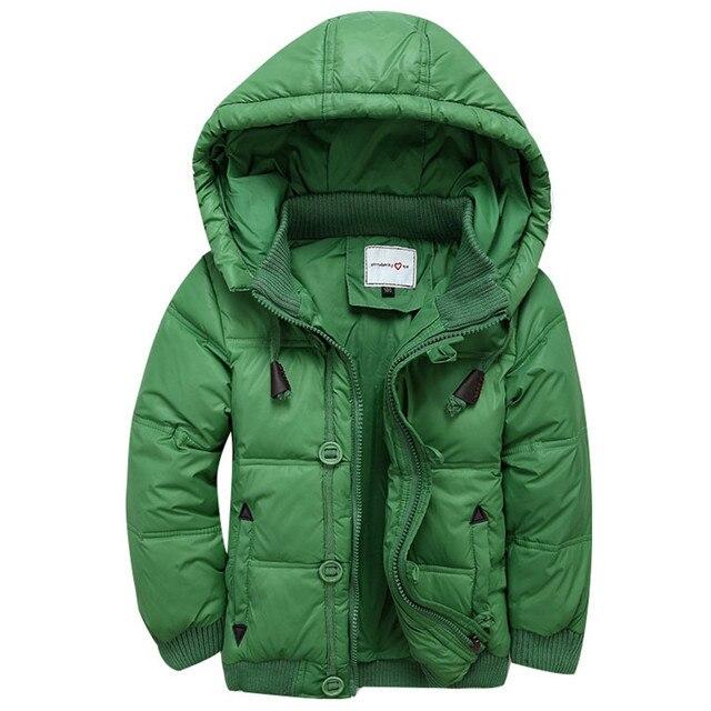 2016 muchachos del invierno abajo capa de la chaqueta de moda con capucha de prendas de vestir exteriores sólido blanco tamaño de pato de alta calidad para 3-9 T 4 colores puede elegir