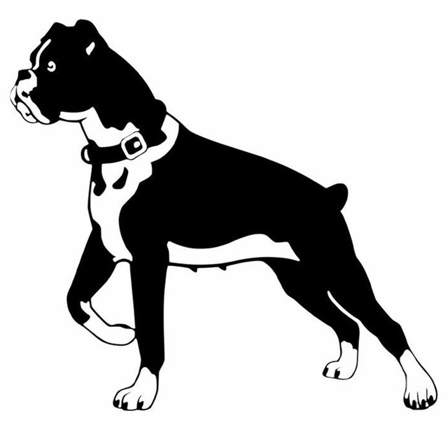 15.2*14CM Boxer Dog Personality Funny Animal Classic Car Stickers Body Decoration Decal Black/Silver C6-1698