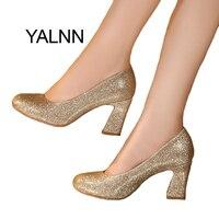 YALNN Or Femmes Chaussures De Mariage 7 cm Nouvelle Mode Haute Talons Chaussures Parti Chaussures Pompes pour Femmes