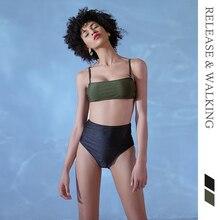 R & W женские комплекты бикини сексуальный бюстгальтер + трусы шорты брюки купальники Swimmimg Пляж Бассейн праздник Спорт Высокая талия слинг костюм из двух предметов