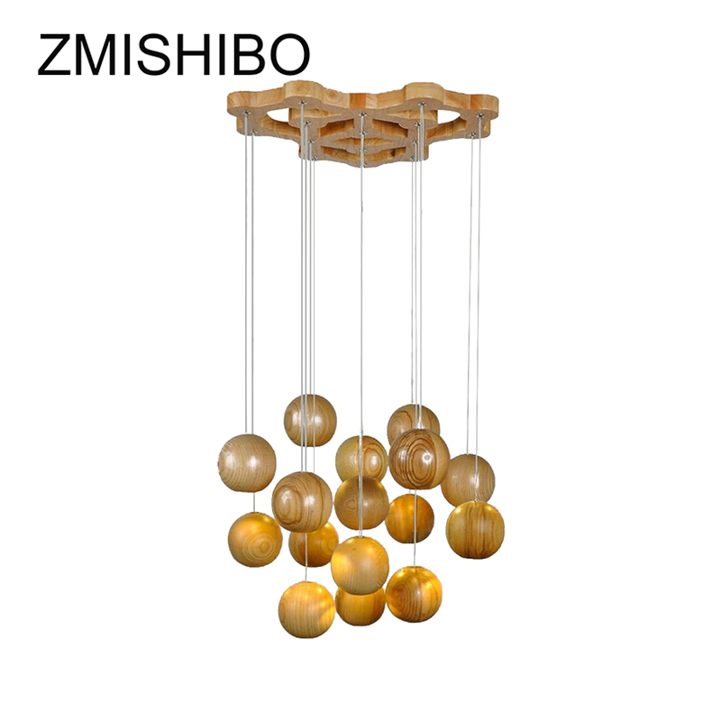ZMISHIBO Wooden Artist Pendant Lamp Round Spherical Luminary Cord Light Modern LED E27 Fixtures For Living Room