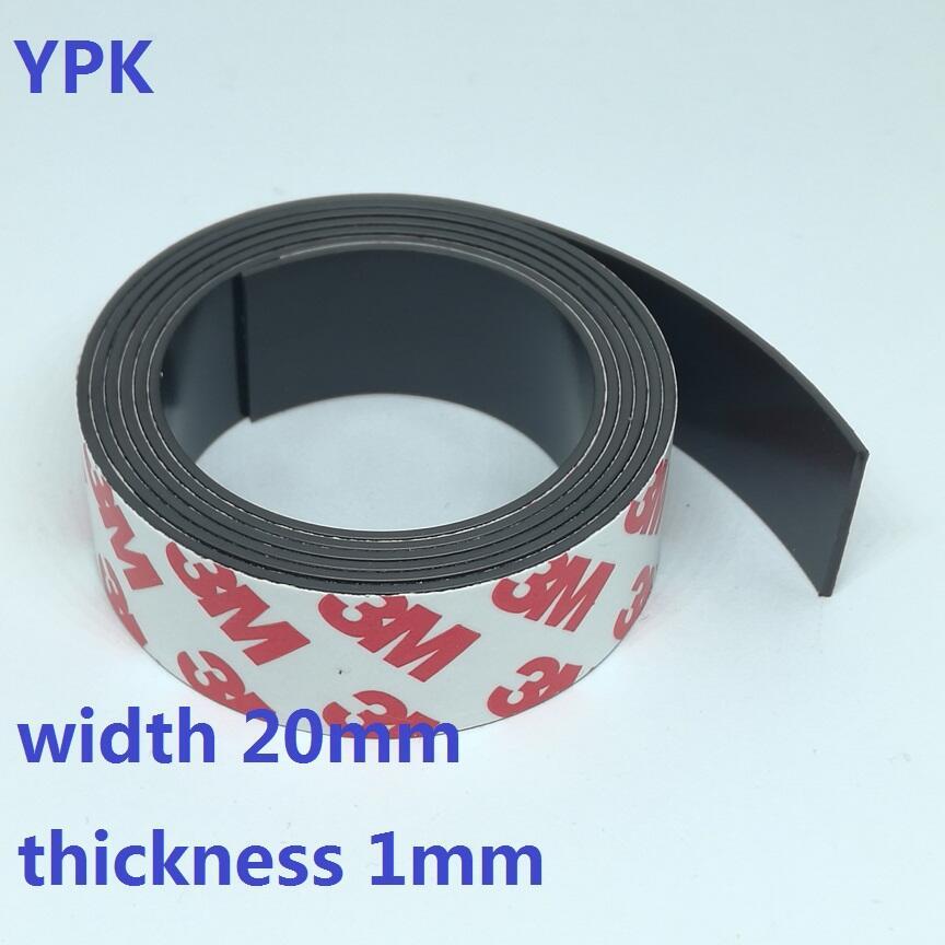 1 Meter/los Gummi Magnet 20*1mm Selbst Klebe Flexible Magnetische Streifen Gummi Magnet Band Breite 20mm Dicke 1mm