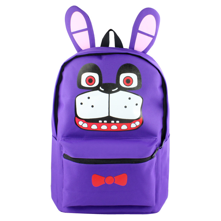 Anime Five Nights at Freddy's High Quality Canvas Solid Color Laptop Backpack Freddy Fazbear Double-Shoulder School Bag