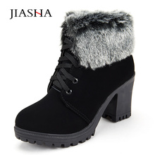 Women Winter Ankle Boots 2017 Fashion Lace Up High Heel Classic Ladies Keep Warm font b