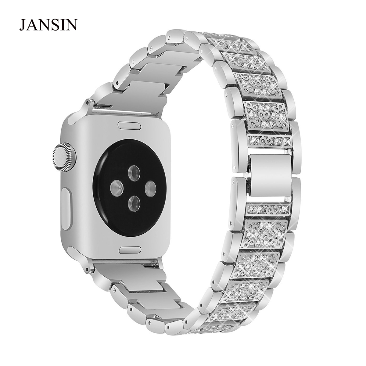 JANSIN Alloy Crystal Rhinestone Diamon Watch Band Luxury Stainless Steel Watch Bands for Apple Watch 38mm 42mm series 3 2 1 still diamon developer mode tool