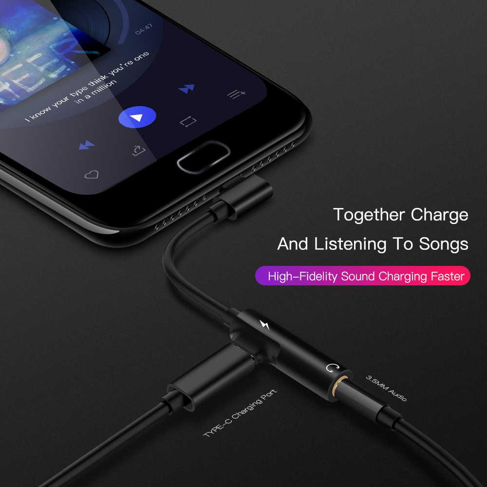 Usb Type C Naar 3.5 Mm Jack Type C Audio Splitter Hoofdtelefoon Kabel Oortelefoon Aux 3.5 Adapter Oplader Usb-C voor Xiaomi Mi6 Mix2 Huawei