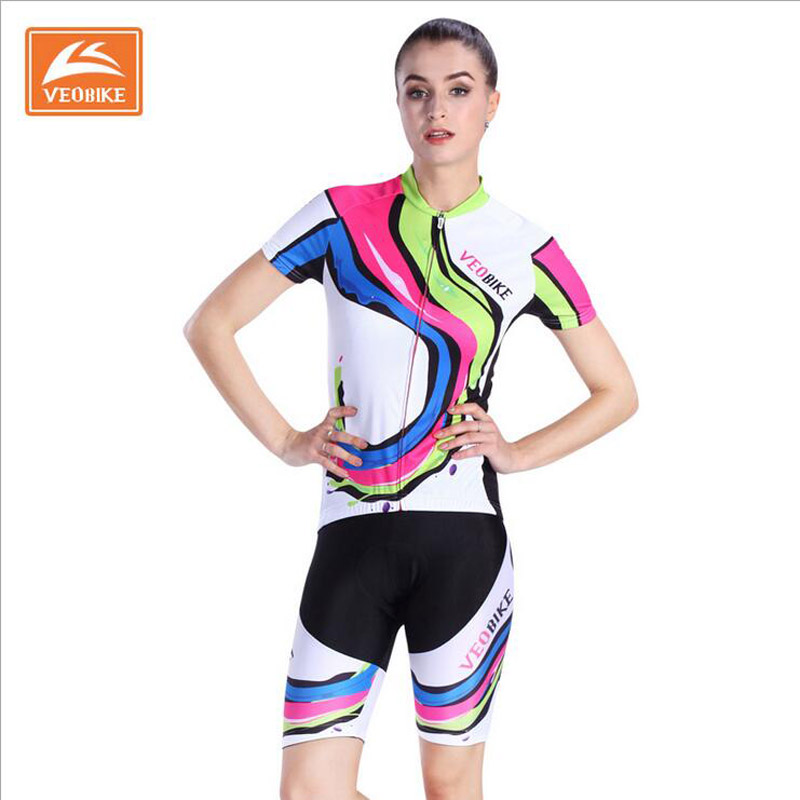 VEOBIKE Women's Cycling Jersey 2017 Pro Team Summer MTB Bike wear Breathable Bicycle Jersey Cycling Clothing Ropa Ciclismo F1307