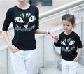 2017 Autumn and winter cat cotton t shirt mother and daughter active sportwear clothes matching family clothing  family look