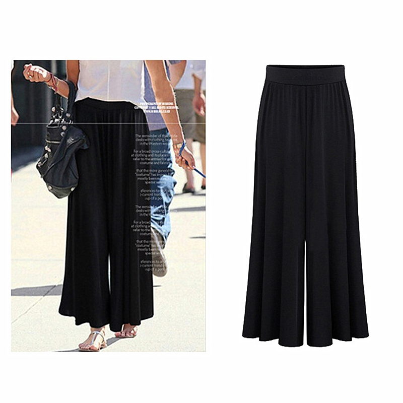Summer plus fertilizer XL women's loose thin solid color   wide     leg     pants   female 2019 casual office ladies   wide     leg     pants   B388