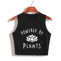 2017 Funny Vegan Crop Tops Power By Plants Crop Top 80s 90s Year Girls Fashion Tank