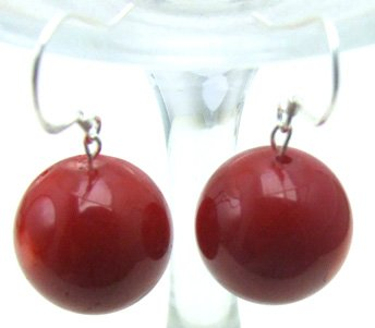 SALE 15mm AAA Red Coral Dangle Earrings with Stering Silver 925 stud-ear189 whole sale and retail Free shipping
