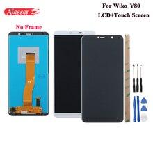 Tela lcd + touch screen alesser, peças de reparo de montagem e adesivo para lingo y80 telefone 5.99 ,