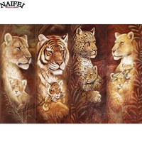 Animal Diamond Embroidery 5D DIY Diamond Painting Christmas Tigers And Lion Leopard Cross Stitch Full Rhinestone