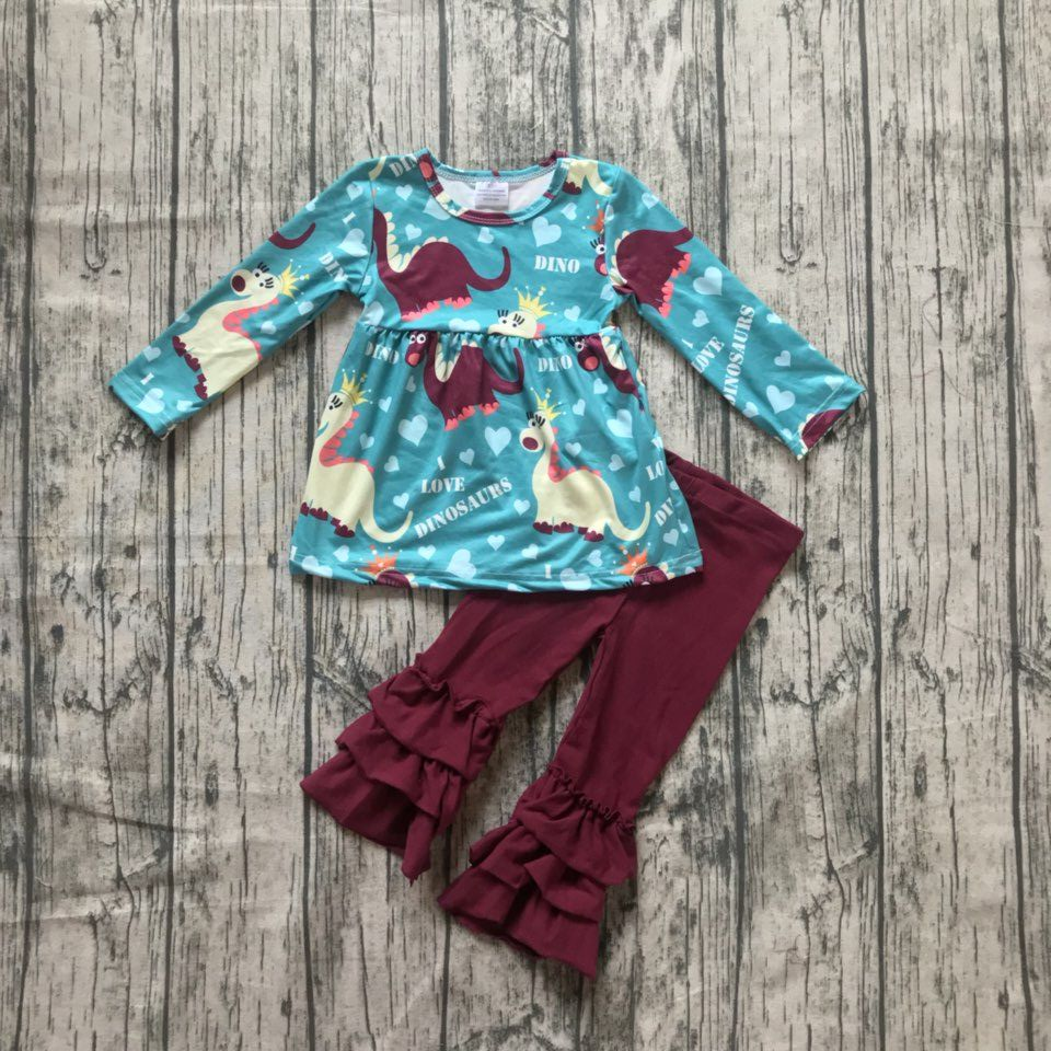 new arrival fall/winter baby girls Dinosaur blue wine burgundy outfits ruffles pants children clothes boutique cotton kids wear 2016 summer baby child girls outfits ruffles shorts white striped watermelon boutique ruffles clothes kids matching headband set