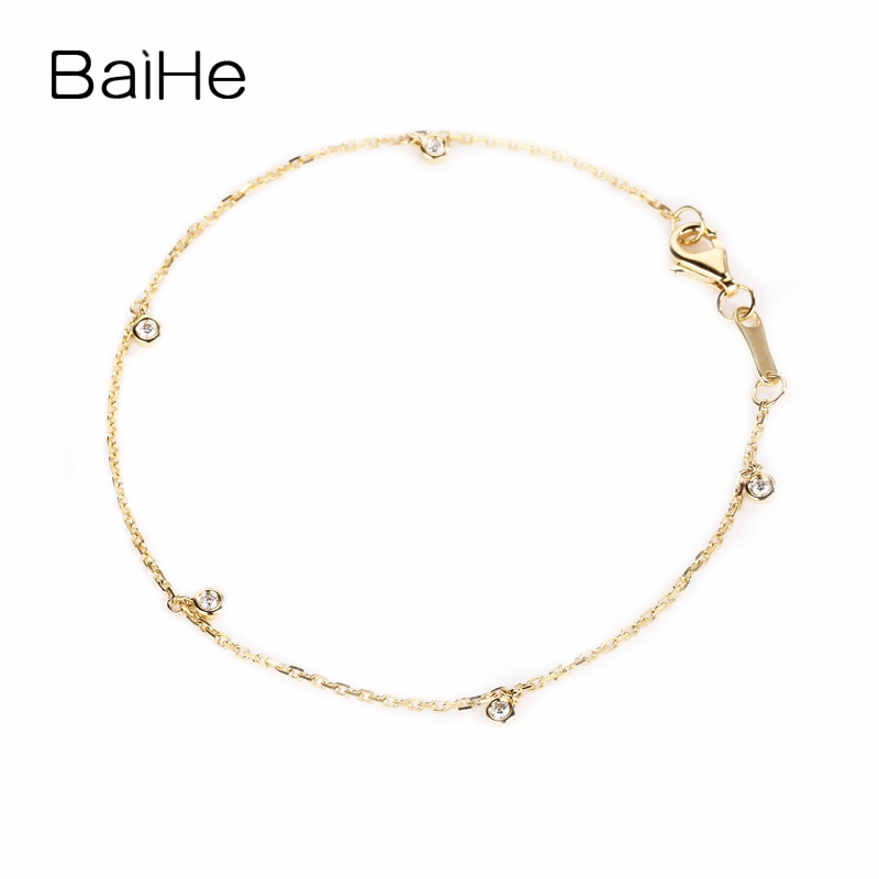 BAIHE Solid 18K Yellow Gold(AU750) 0.10CT F-G/SI Round Full CUT 100% Genuine Natural Diamonds Wedding Trendy Jewelry Bracelet baihe solid 18k yellow gold au750 engagement
