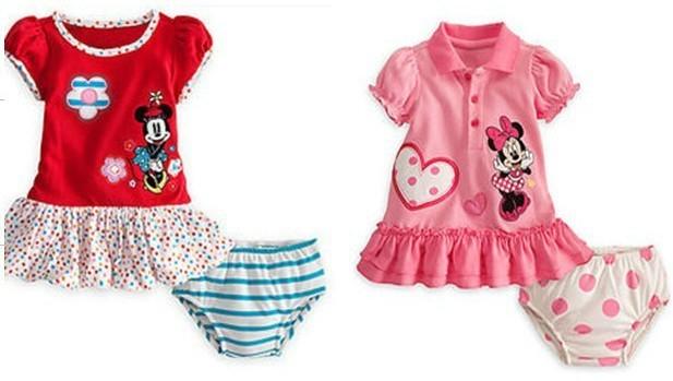 Fashion Style Beautiful Girls Outerwear Kids Cotton Short Sleeve T-shirt + Shorts Set Children Clothes Cartoon Minnie Suit QIN