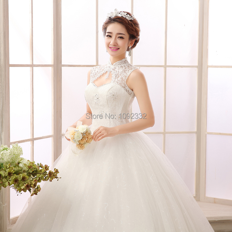 Z 2016 New Stock Women Plus Size Bridal Gown Wedding Dress Lace Backless Vintage High Collar
