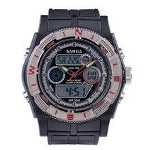 SANDA Hombres Moda Del Reloj Del LED Reloj Digital de Doble Movimiento Deportivo Impermeable de Silicona Relojes Militares Relogio masculino reloj