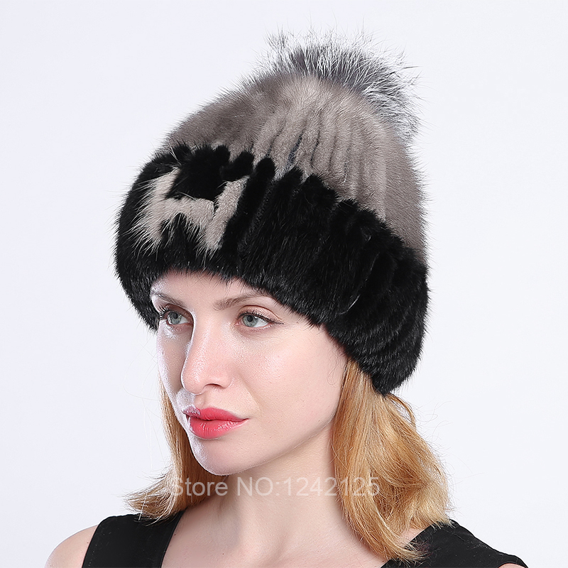 New winter women children girl knitted mink fur hat warm striped words with fox ball weave hats caps headgear Skullies Beanies mink skullies beanies hats knitted hat women 5pcs lot 2299