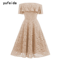 YUFEIDA Off Shoulder Slim Vintage Lace Dress 2017 A-line Solid Quality Noble Party Elegant Dresses Pageant Prom Summer Gowns